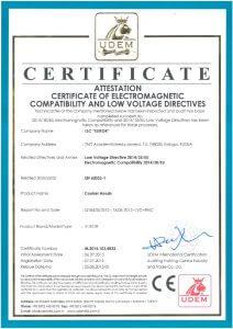 Пример Европейского сертификата качества